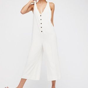 Free People Other - Free People White Button Up Jumpsuit